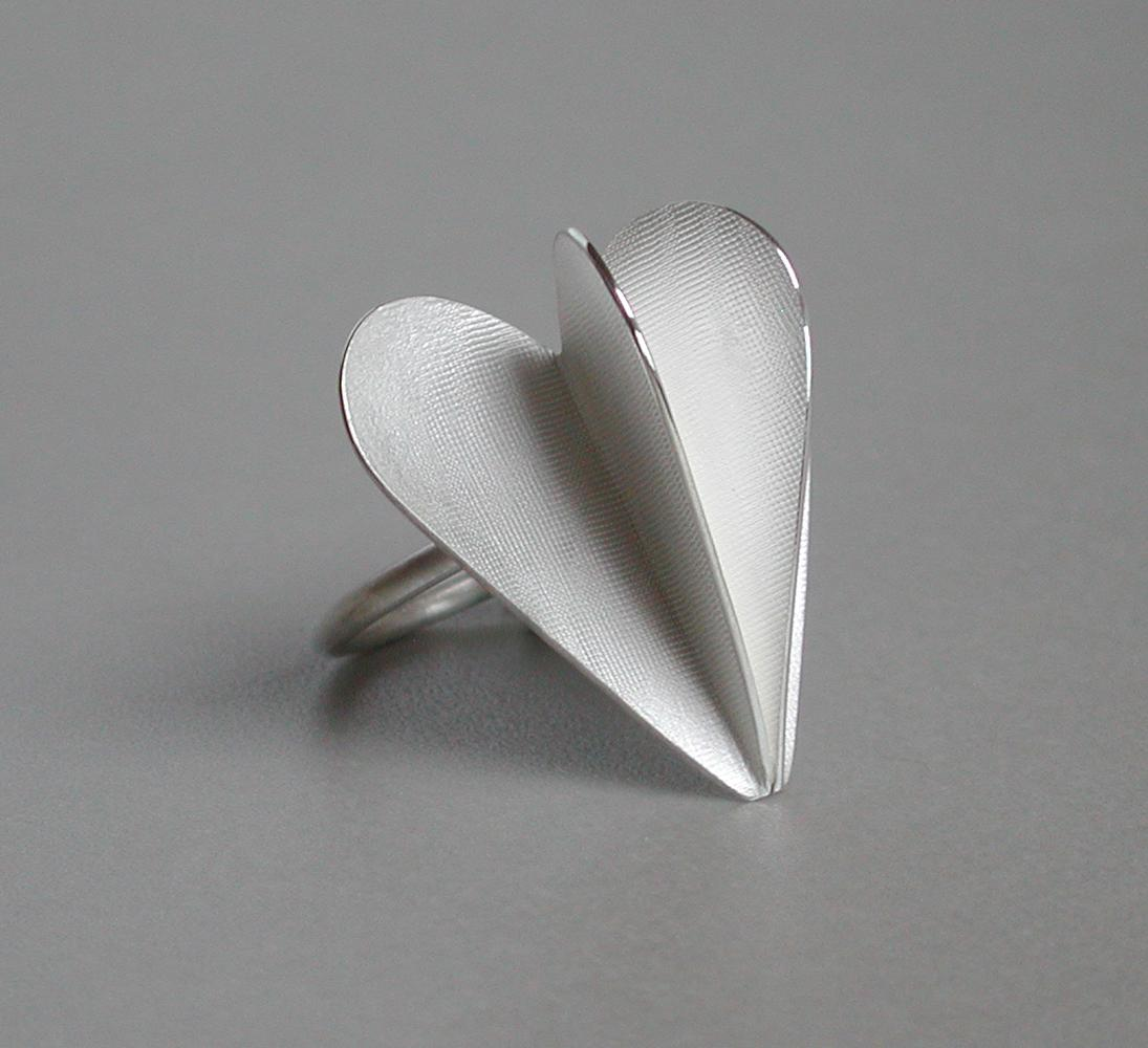 ring DOUBLE HEART silver